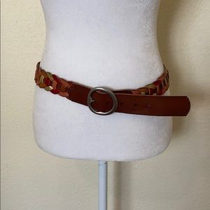 Fossil red pink brown gold leather chain belt